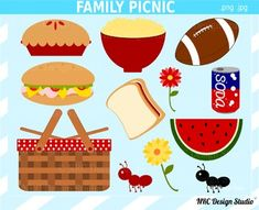 family picnic foods This set includes 12 Family Picnic clip art images provided in separate PNG and JPG formats. All images are 300 dpi High Resolution. You may use these images for Picnic Bulletin Boards, Family Picnic Foods, Picnic Images, Picnic Theme, Food Clips, Cardboard Box Crafts, Crafts For Kids, Diy Crafts, Thing 1