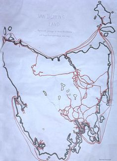 Map of the travels of Backhouse and Walker in Van Diemen's land - [shown by red lines]. Backhouse and Walker travelled extensively throughout Van Diemen's Land, visiting every settlement,gaol and convict gang on the island. Van Diemen's Land, Tasmania, Beautiful Islands, The Past, Prince, Australia, Map, Location Map, Maps