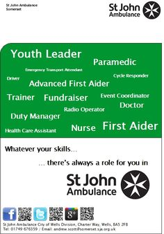 St John Ambulance First Aid poster - whatever your skills, there's always a role…