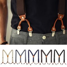 Mens Elastic Leather Suspenders Wide Suit Office Adjustable Braces Clip Holdup #followthehappiness #YBackSuspenders