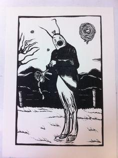 Expositie Spiegelbeeld | 9 januari t/m 13 februari 2016 | Kunstwerken van diverse jonge talentvolle grafici | Dennis Keeskamo - Worstendraaier | Linosnede €190,00| www.baxkunst.nl | #baxkunst #expo #art #graphicart #contemporaryart #dutchartist #localart #gallery #Sneek #Holland