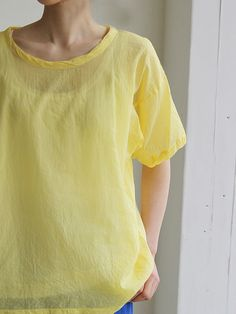simple T-shirt in a brightly coloured gauzy linen