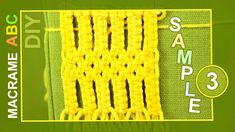 Another interesting example for your macrame projects. With this pattern you can make book cover etc... View sample: http://www.youtube.com/watch?v=_jGJHURzqD8