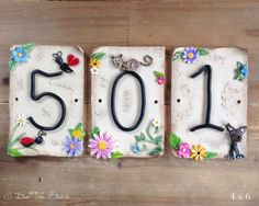 Ceramic House Number - Three Tiles
