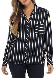 9e1c7ebbcae97 THE LIMITED Plus Size Pinstripe Pocket Blouse