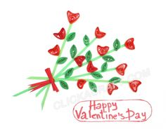 "Quilling Card ""Happy St. Valentine's Day"" - Click on image to see step-by-step tutorial."