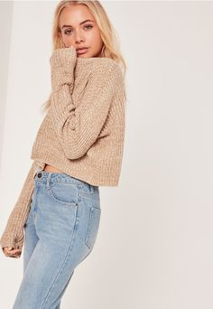 Slouchy Cropped Jumper Camel - Missguided