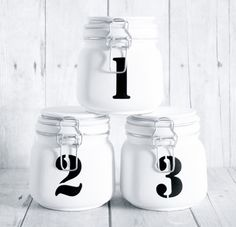 DIY - Numbered Mason jars by pantone4c.dk