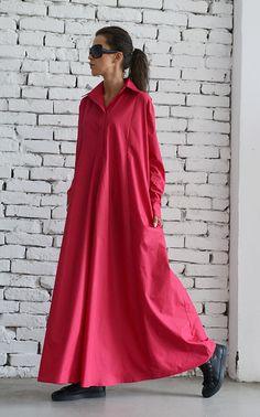Oversize Shirt Dress/Pink Maxi Dress/Long Loose by Metamorphoza