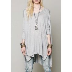 light gray flowy top So sad to let this go, unfortunately I'm too short and it was too big :( NWT. (Picture from seller- not free people, only for exposure purposes) Free People Tops