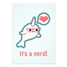 Super cute pink baby narwhal with nerd glasses and love heart!