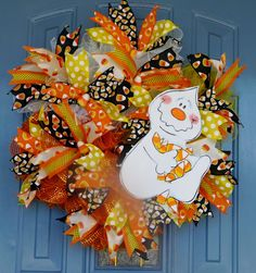 wooden handpainted ghost with candy corn deco mesh wreath by tworoadsdivergedshop on etsy - Halloween Candy Wreath
