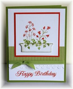 Scrappin' and Stampin' in GJ Flowers SU sentiment Clear & Simple, window box is die cut ?