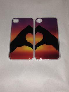 BFF Heart Matching iPhone 4 4S clear case for boyfriend girlfriend bestfriend. $16.99, via Etsy.