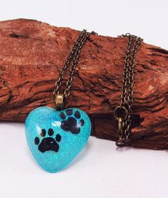 Blue Heart And Two Paws, Puppy Paws, Resin Pendant, Blue Glitter, Love for Dogs, Black Paws Blue Glitter, Heart with Paws by VeeSwan on Etsy