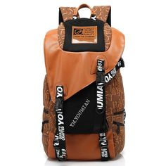 Brown Letters Prints Japan and Korean Style Canvas Flap Traveling Backpacks for Unisex