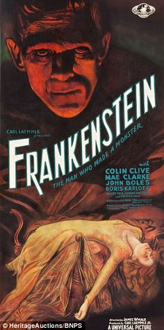 A rare poster for the 1931 horror Frankenstein is set to fetch $225,000 at auction