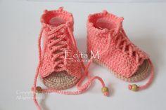 Crochet bebé sandalias sandalias gladiador niña por EditaMHANDMADE