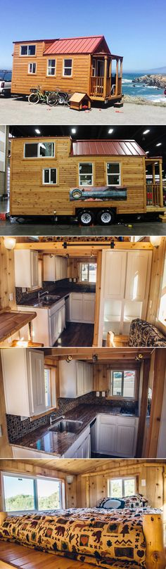 This tiny house is built on a 22′ trailer and has a 3′ front porch.  A total of 255 sq.ft.