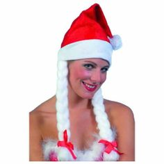 Santa Hat, Red and White, with Plaits by Smiffys, http://www.amazon.co.uk/dp/B000ZQC6N8/ref=cm_sw_r_pi_dp_aTpLsb1FJ7NZ6
