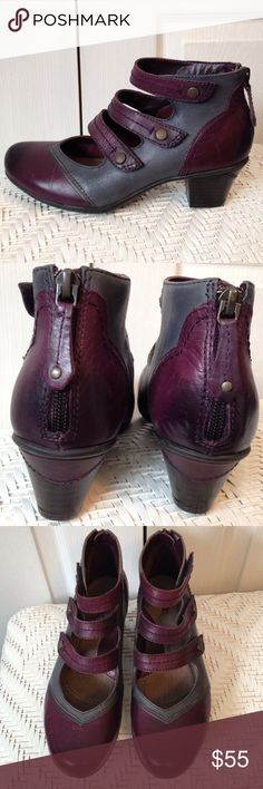 """6 Earth Serano Purple Gray Leather Shoes Boots New without tags, these gorgeous leather Earth booties have 3 Velcro adjustable straps in front, zippers in back. Size 6 B. Color Prune. So Steampunk! 1 3/4"""" heels. Button detail is a dull brass color. Earth Shoes Ankle Boots & Booties"""