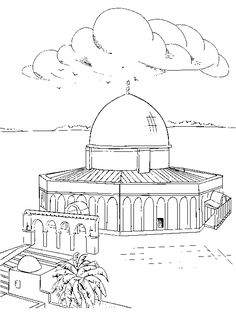 Black and white drawing 2 Islamic Posters, Islamic Art, Coloring For Kids, Coloring Books, Coloring Worksheets, Colouring, Jerusalem, Palestine Art, Kindergarten Coloring Pages
