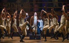 "Lin-Manuel Miranda, center, as Alexander Hamilton in the musical ""Hamilton"" at the Richard Rodgers Theater."