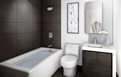 Charming Real Simple Small Bathroom Ideas Consists of Undermount Bathtub and Wall Mounted Shower Head Alongside White Porcelain Toilet Beside Integrated Sink Vanity Top of Ideas ~ Powder Room Vanities on Bathroomfine.com