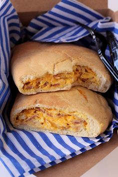 The classic combo of bacon, egg, and cheese gets folded inside flaky pastry dough for a breakfast variation on the calzone. Egg Recipes, Brunch Recipes, Cooking Recipes, Yummy Recipes, Saveur Recipes, Bacon Recipes, What's Cooking, Cheese Recipes, Pizza Recipes