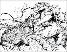 Commish - Godzilla vs Anguirus by AlmightyRayzilla on DeviantArt
