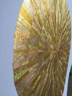GOLD wall art from recycled chocolate foils. Strips carefully cut, selected and glued to form six ripples. Mint Bar, Quality Street, Gold Wall Art, One Color, Recycling, Charlotte, Collage, Chocolate, Schokolade