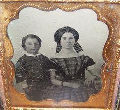C1855 Antique Ambrotype Photo Boy Victorian Lady mom Plaid Dress | eBay ribbons headdress, low body bracelets hair