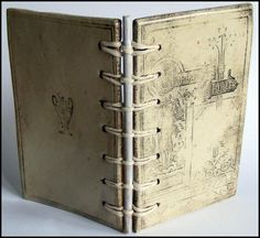 A ceramic book bound in the secret Belgian binding method with bamboo