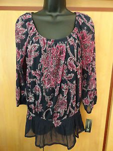 NEW INC Medium Top 3/4 Sleeve Floral Peasant Smock Dropped Waist Scoop Neckline