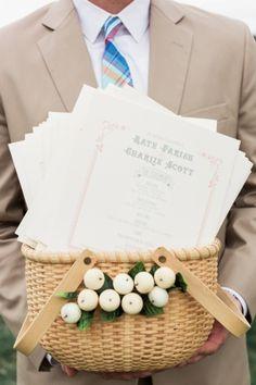 The wedding program: http://www.stylemepretty.com/connecticut-weddings/mystic/2014/12/17/romantic-nautical-wedding/ | Photography: Lauren Fair - http://www.laurenfairphotography.com/