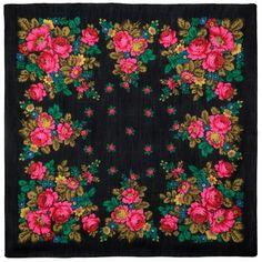 Russian black babushka shawl kerchief for women, Pavlovo Posad lightweight gauze wool shawl size Square scarf wrap with pink roses Pride And Glory, Evening Shawls, Shawl Patterns, Kerchief, High Art, Floral Scarf, Wool Scarf, Pink Roses, Vintage Designs