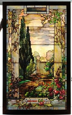 A Tiffany Studios stained-glass window created around the turn of the 20th century for a church in Duluth, Minnesota. The overall effect is painterly, a tranquil scene rendered in delicately colored glass rather than oil paints. The window is unsigned but in the 1980s, Dr. Egon Neustadt, an expert on Tiffany, confirmed its authenticity and worth is estimated $150,000-$250,000. Up for grabs at Morphy Auctions' ...Any bidders? :)