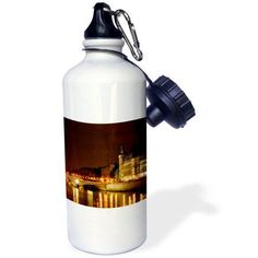 3dRose Paris France, Paris and the Seine River at night, Sports Water Bottle, 21oz