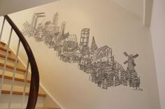 Mural in staircase by Daniel Van der Noon