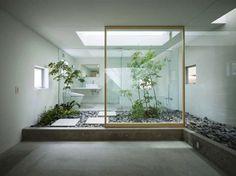 Bathroom Design, Bring the Beauties of the World into Your Bathroom: Courtyard Japanese Style Zen Bathroom Design
