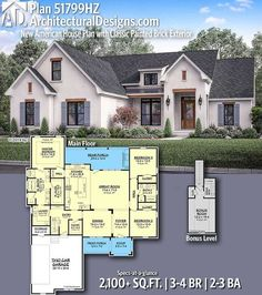 New American House Plan with Classic Painted Brick Exterior Architectural Designs New American Home Plan gives you bedrooms, baths and sq.Architectural Designs New American Home Plan gives you Basement House Plans, House Floor Plans, Brick House Plans, 2200 Sq Ft House Plans, 3 Bedroom Home Floor Plans, House Plans One Story, Basement Stairs, Craftsman House Plans, Country House Plans