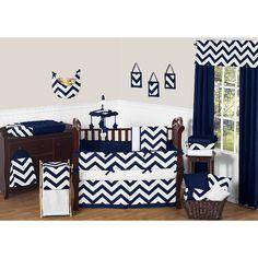Sweet Jojo Designs Navy Blue and White Chevron 9 Piece Crib Bedding Set & Reviews   Wayfair
