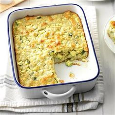 Dilly Zucchini Casserole Recipe -Whenever I take this time-saving side-dish casserole to a potluck, I seldom bring any home, and folks often ask for the recipe. If I have fresh dill, I'll substitute a couple tablespoons for the dill weed. It's easy to assemble and easy on the budget at only 77¢ a serving. —Esther Kilborn Bridgton, Maine