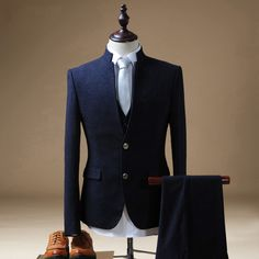 Mens Suits Wedding Groom Dark Blue Tuxedo Chinese Collar Suit 3 Pieces trajes de hombres de vestir