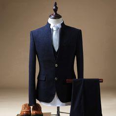 Mens Suits Wedding Groom Dark Blue Tuxedo Chinese Collar Suit 3 Pieces trajes de hombres de vestir