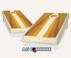 """Retro Stained Poster Pyramid"" Cornhole Set Product Details | AJJ Cornhole"