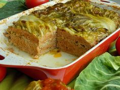 Casserole of baby cabbage and minced meat KuchniaMniam Cabbage Rolls, Food Humor, Meatloaf, Food Inspiration, Banana Bread, Slow Cooker, Mango, Thanksgiving, Homemade