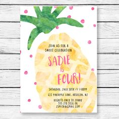 Hey, I found this really awesome Etsy listing at https://www.etsy.com/listing/288140155/pineapple-birthday-party-invitation