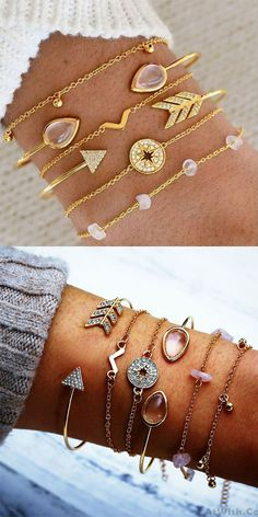 Leisure Compass Crushed Stone V type Arrow Six-piece Open Women Bracelet #bracelet #arrow
