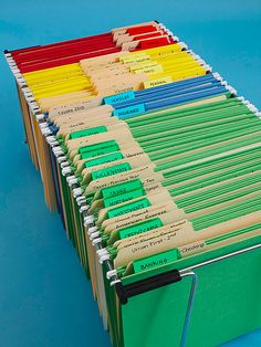 Use this simple color-coded method to sort and store your most important documents. Use this simple color-coded method to sort and store your most important documents. Filing Cabinet Organization, Office Organization At Work, Organizing Paperwork, Clutter Organization, Household Organization, Paper Organization, Organizing Your Home, Organizing Documents, Office Filing System